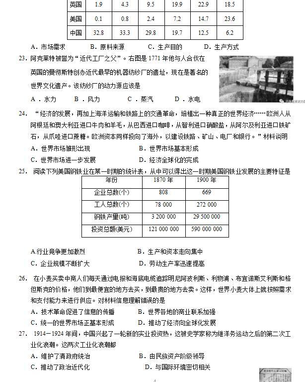 2018-2019无锡玉祁高级中学文科上高一期中试理科读还是好高中好历史图片