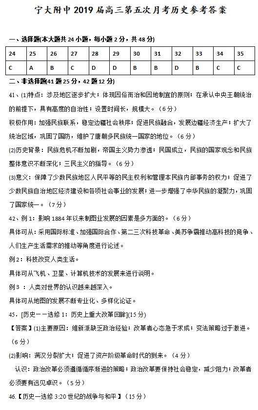 2019届宁夏大学附属中学高三上学期第五次月考文综历史试卷答案 下载版