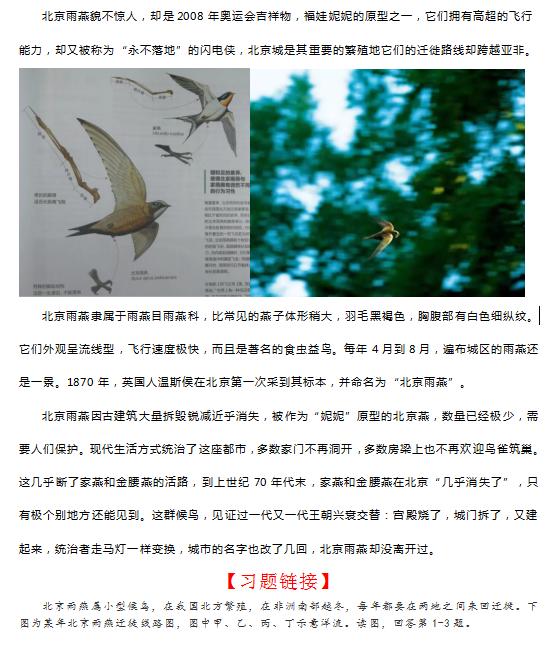 """高考地理微专题之""""永不落地""""的北京雨燕1"""