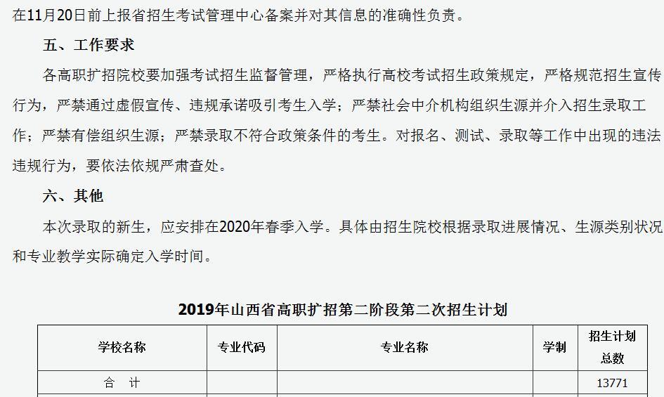 2019年山西省第二�A段高�院校�U招最后一次�竺�招生工作的通知4
