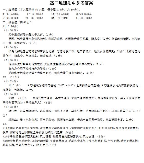 2020届山西省怀仁县一中高二地理上学期期中试卷答案(图片版)