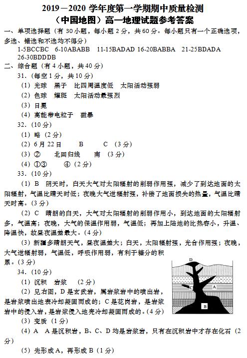 2020届陕西宝鸡市高一地理上学期期中试卷答案(下载版)