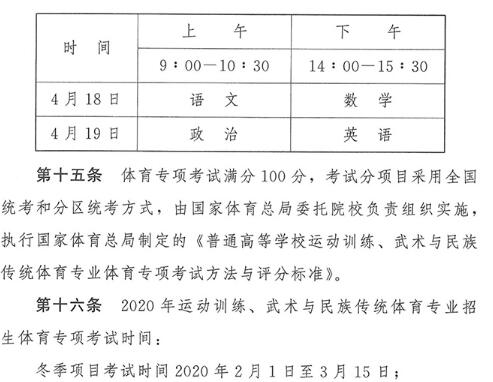 2020年普通高等�W校�\�佑��、武�g�c民族�鹘y�w育��I招生考�2