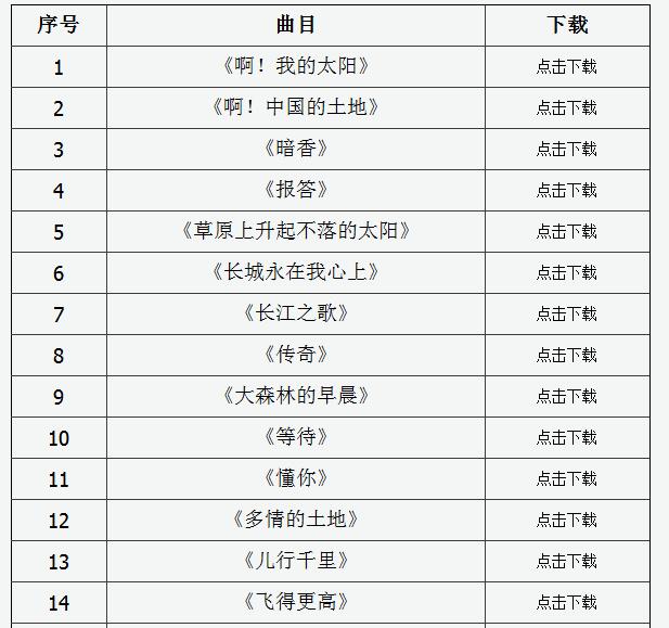2020年山西省声乐专业考试曲目库(100首)1