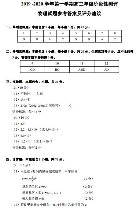 2020届山西省太原六十六中高三物理上学期期中试卷答案(图片版)1