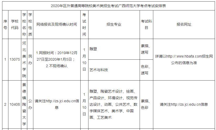 2020年�V西省�P于�^外普通高校在�V西�M���g���I�?季唧w安排的公告1
