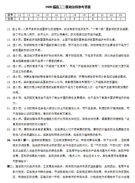 2020届广西玉林、柳州市高三政治二模试题答案(图片版)1