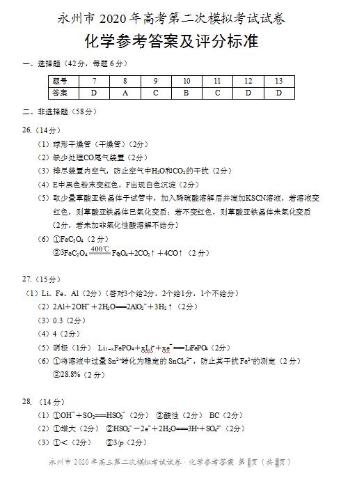 2020届湖南省永州市高三理综二模试题答案(图片版)1