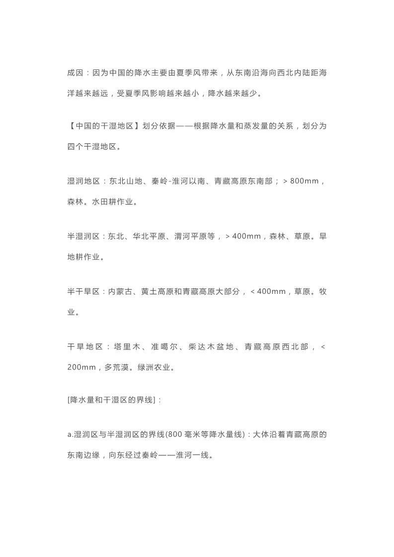 2020年高考地理必考,中国的气候知识点汇总5