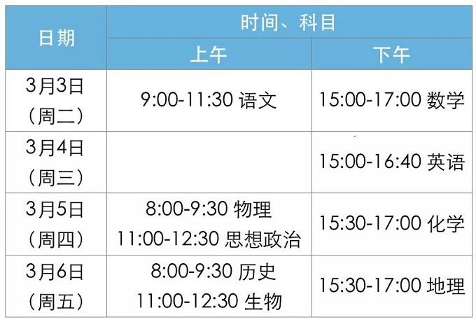 2020北京新高考适应性测试详细安排出炉