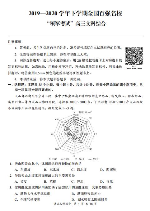 2020届全国百强名校领军高考文综模拟试题(下载版)