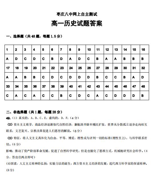2020届山东省枣庄八中学高一历史下学期线上试题答案(图片版)