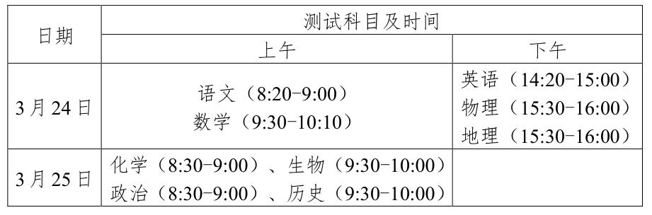 广东东莞2020高三线上测试时间:3月24-25日