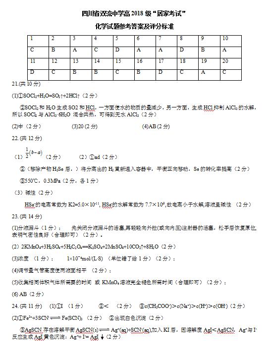 2020届四川省双流中学高二化学下学期线上月考试题答案(图片版)1