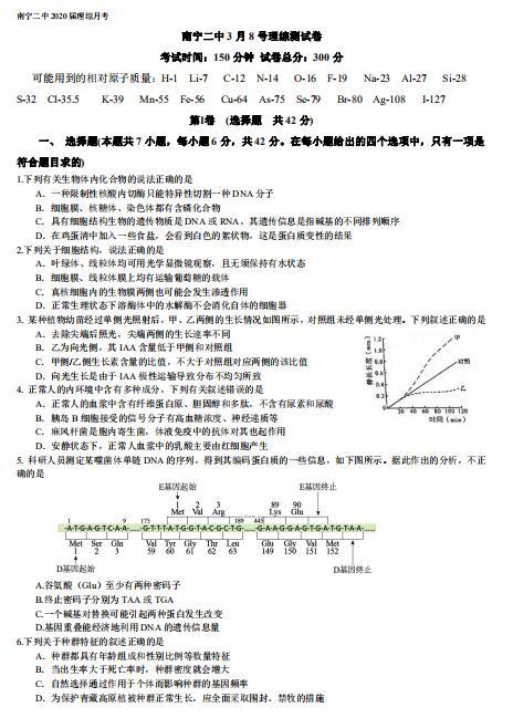2020届广西南宁市第二中学高三下学期模拟理综试题(下载版)