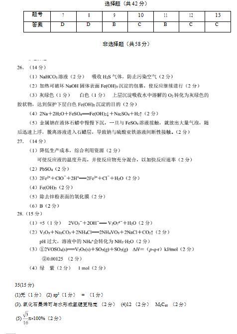2020届安徽省太和中学高三理综化学模拟试题答案(下载版)