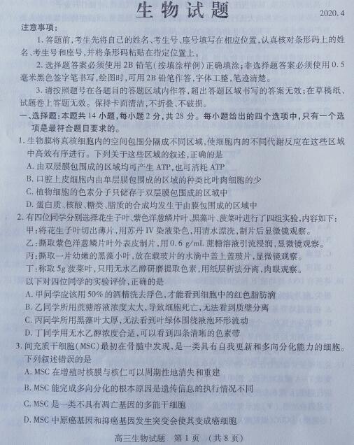 2020届山东省枣庄市高三生物模拟试题(图片版)1