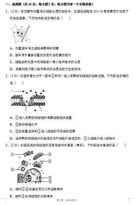 2020届上海市普陀区生物凯发体育网址二模试题(图片版)1