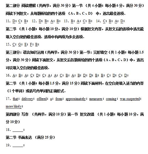 2020届黑龙江省大庆实验中学英语高考模拟试题一答案(下载版)