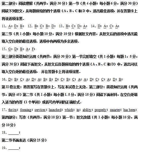2020届湖北省荆州市沙市中学英语高考三模试题答案(下载版)
