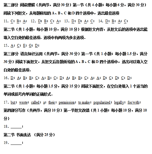 2020届湘赣皖长郡十五校联考英语高考二模试题答案(图片版)