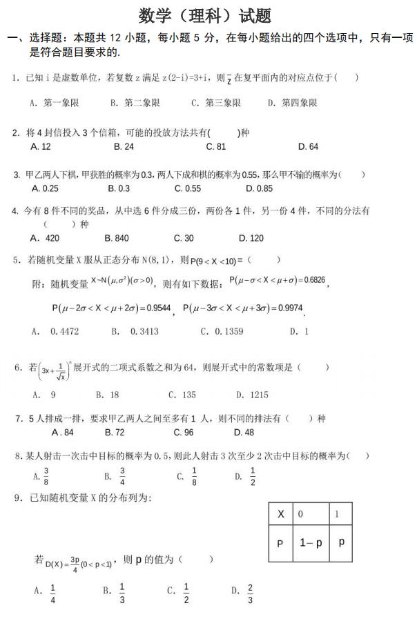 2020届湖北十堰市车城高级中学高二数学(理)下学期期中试题1