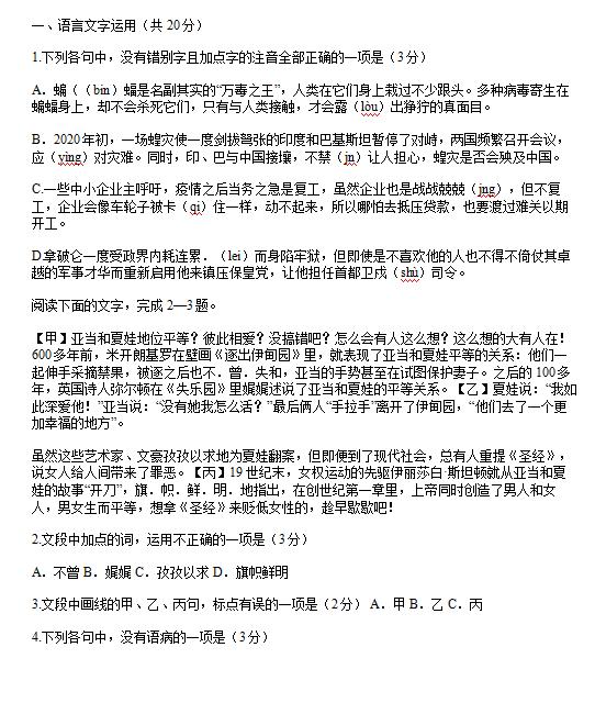 2020届浙江高三语文模拟冲刺试题(下载版)