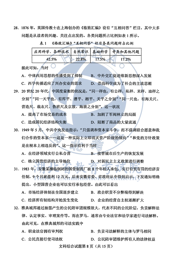 2020年安徽高考文综试题(图片版)8