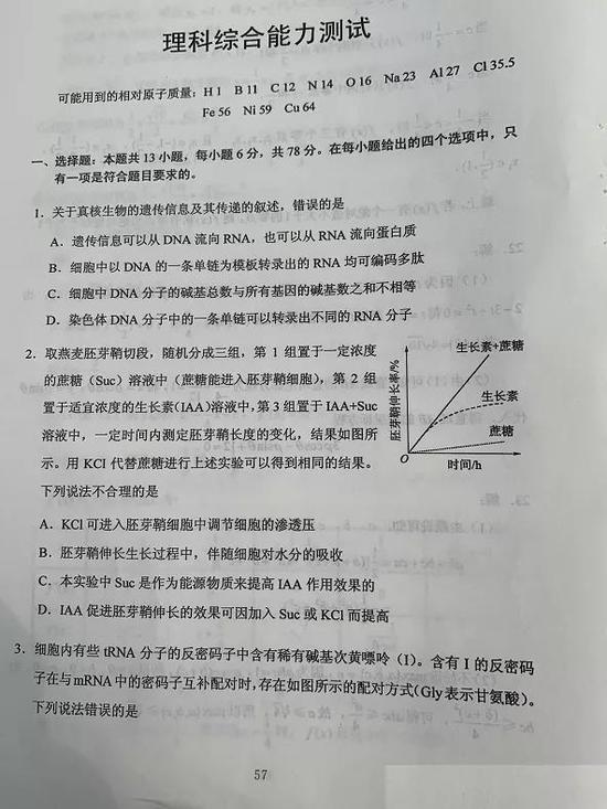 2020年贵州高考理综试题(图片版)1