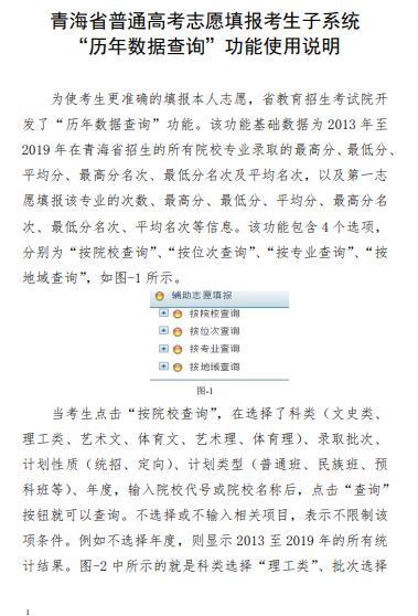 """青海普通高考志愿填报考生子系统 """"历年数据查询""""功能使用说明图1"""