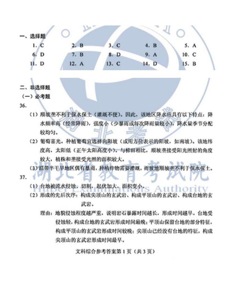 2020年全国I卷高考地理试题答案(图片版)1