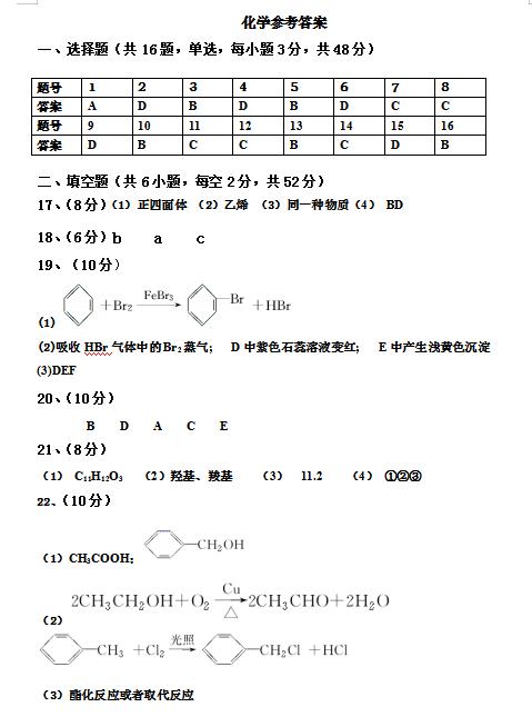 2020届湖南省长沙县第九中学高二下化学期末检测试题答案(图片版)