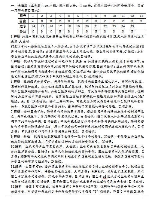 2020届安徽省滁州市天长市天长中学高二下生物教学效果检测试题答案(图片版)1