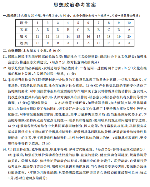 2020�煤�南省普通高中�W�I水平合格性考�政治模�M��}答案(�D片版)