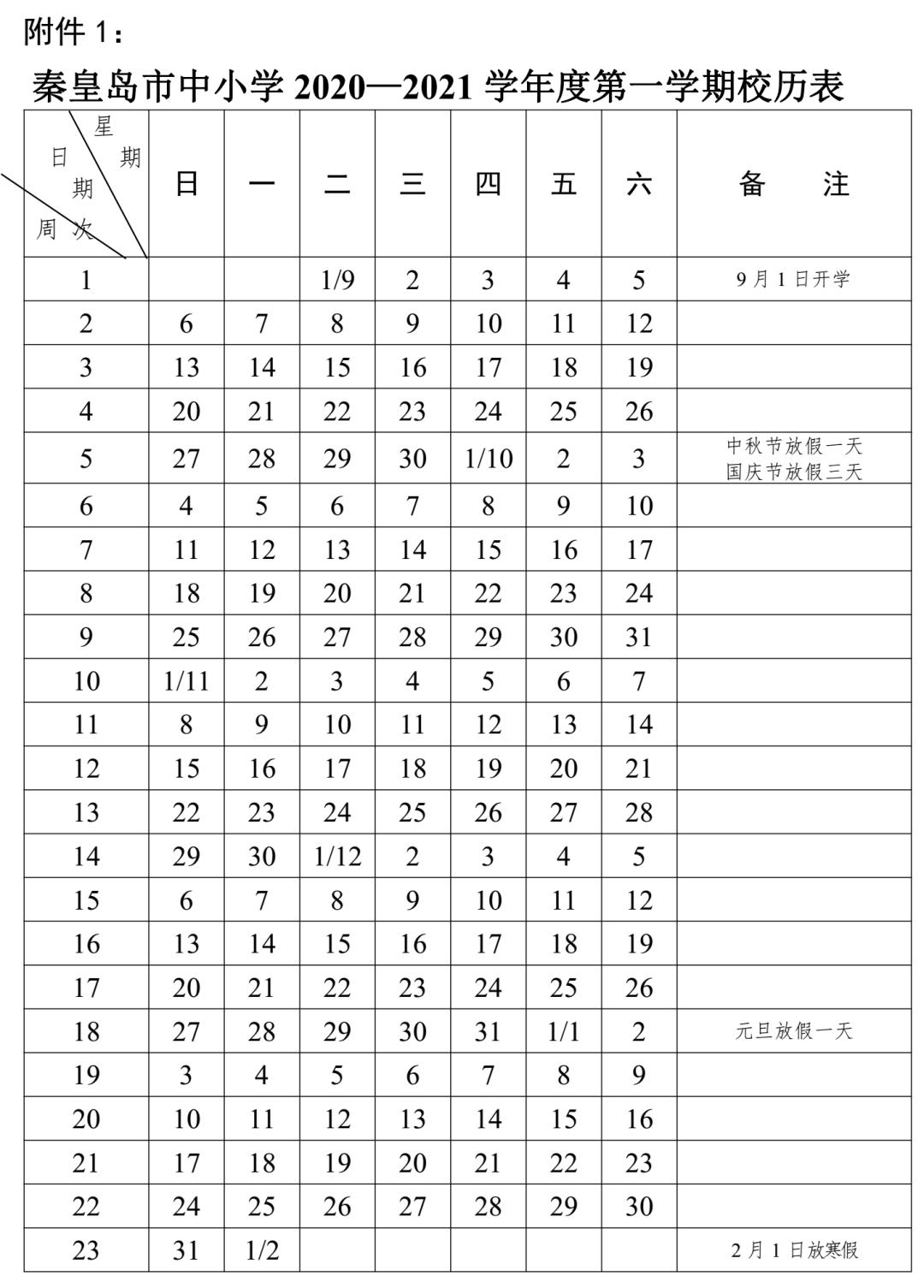 秦皇岛中小学2021年寒假放假通知