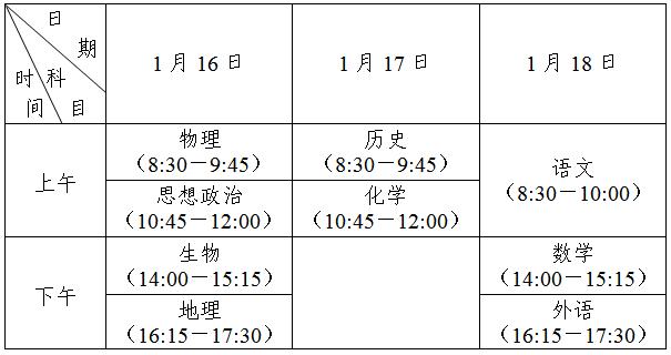 江�K2021年1月16日-18日�⑴e行普通高中�W�I水平合格性考�