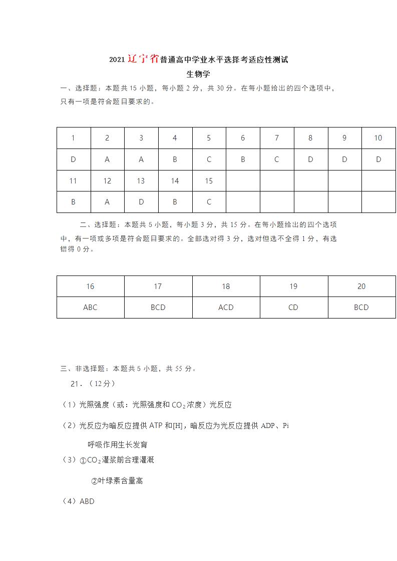 2021届八省联考辽宁普通高等学校招生全国统一考试生物试题答案(图片版)