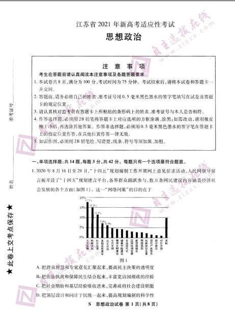 2021届八省联考江苏普通高等学校招生全国统一考试政治试题(下载版)
