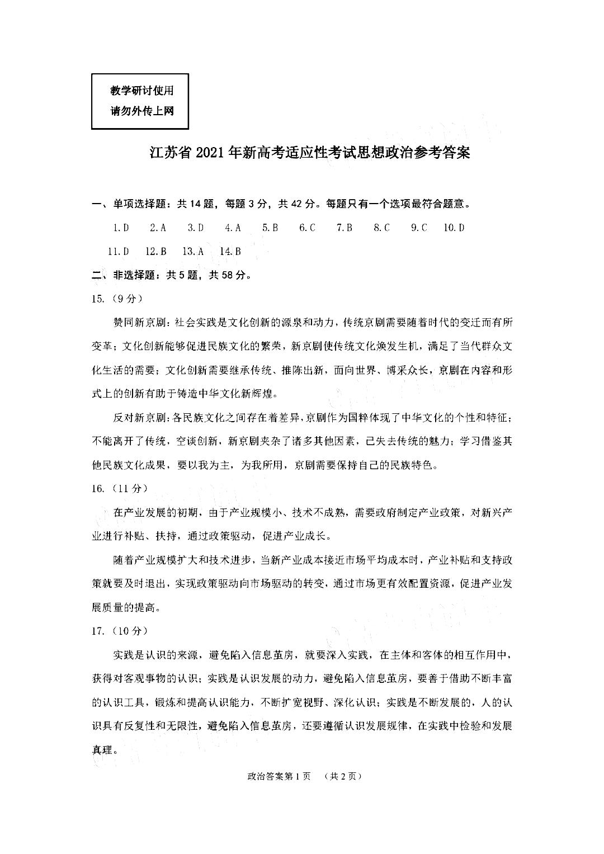 2021届八省联考江苏普通高等学校招生全国统一考试政治试题答案(下载版)