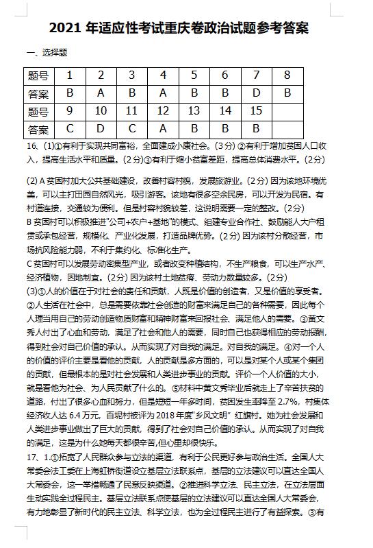 2021届八省联考重庆普通高等学校招生全国统一考试政治试题答案(图片版)