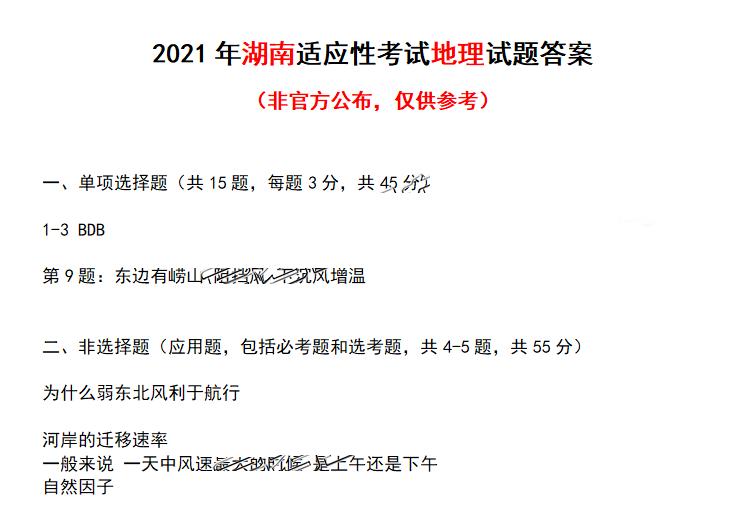 2021届八省联考湖南普通高等学校招生全国统一考试地理试题答案(图片版)