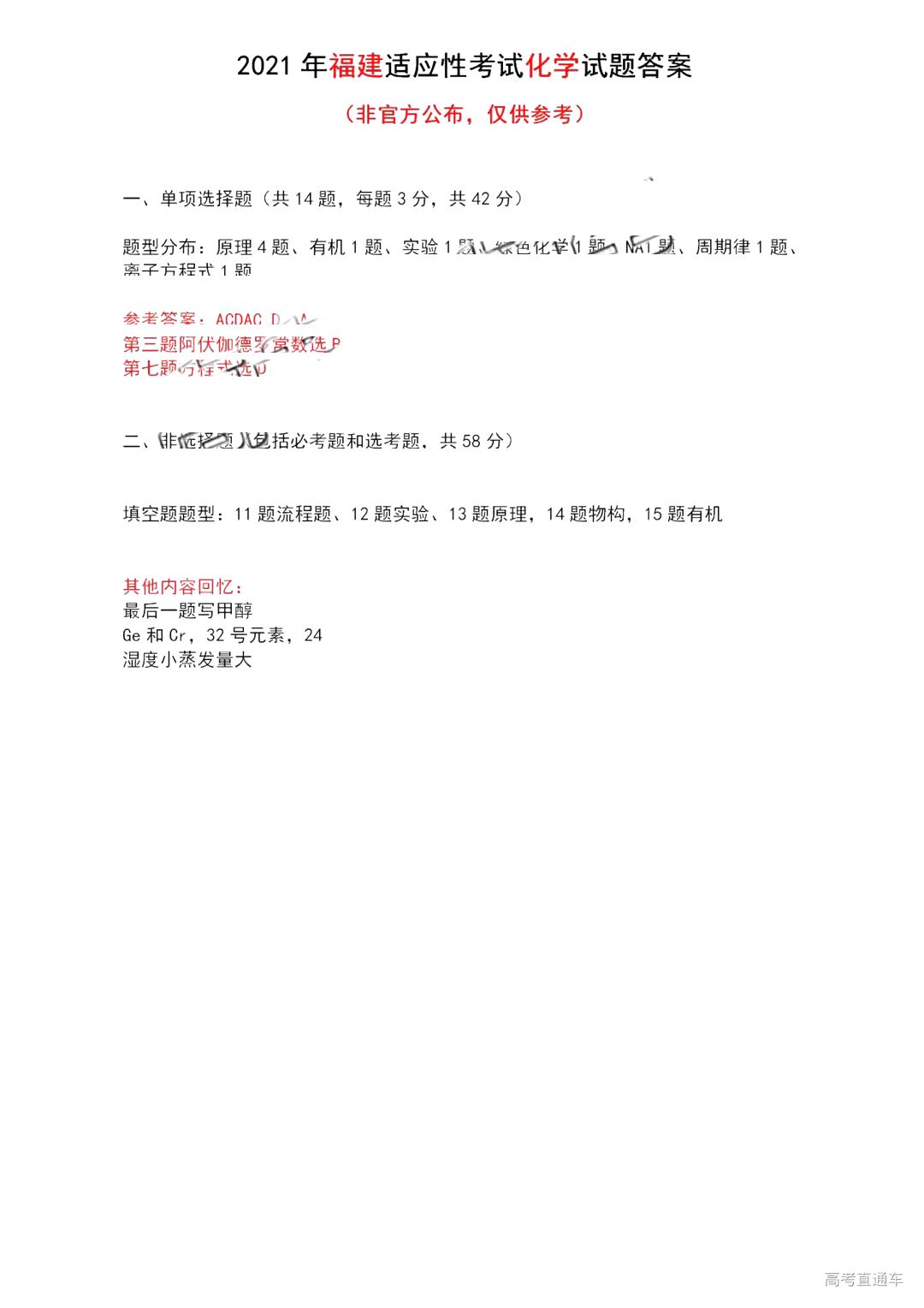 2021届八省联考福建普通高等学校招生全国统一考试化学试题答案(下载版)