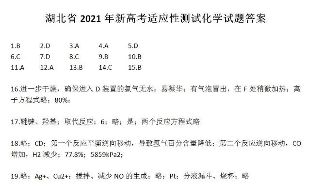 2021届八省联考湖北普通高等学校招生全国统一考试化学试题答案(下载版)