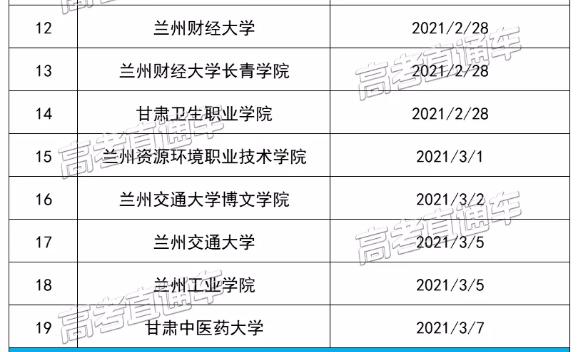 甘�C各高校2021年春季�W期�_�W�r�g2