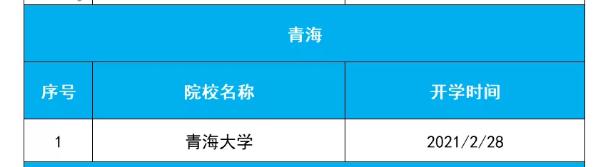 青海各高校2021年春季学期开学时间