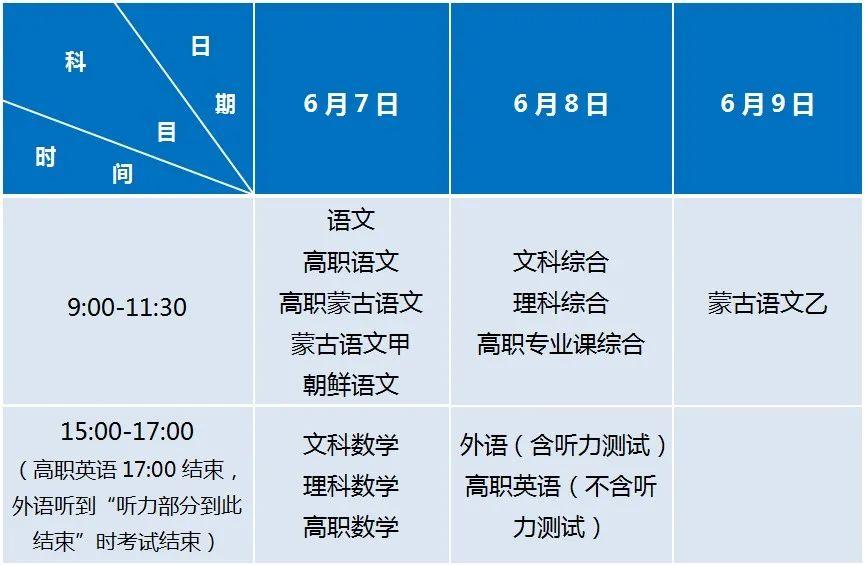 2021年内蒙古普通高考时间安排公布