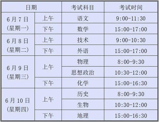2021年浙江省高考将在6月7-10日举行