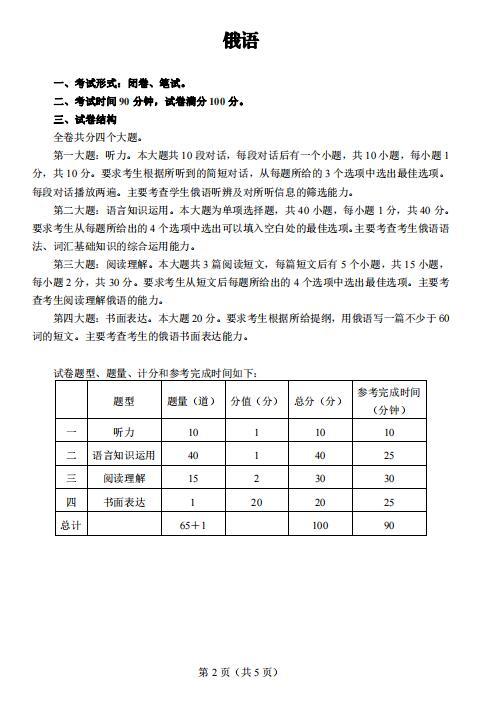 重庆2021年6月学业水平合格性考试小语种各科目考试形式及试卷结构