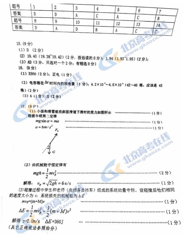 2021届北京市门头沟区高三物理一模试题答案(图片版)1