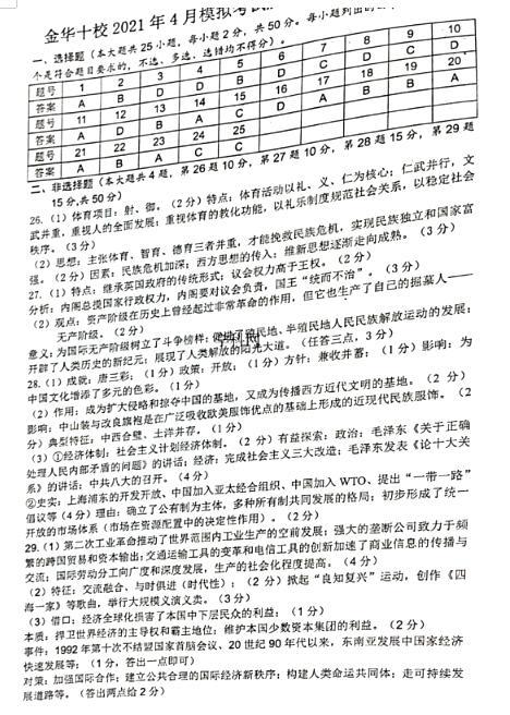 2021�谜憬�省金�A十校高三下�W期�v史4月模�M考���}答案(下�d版)